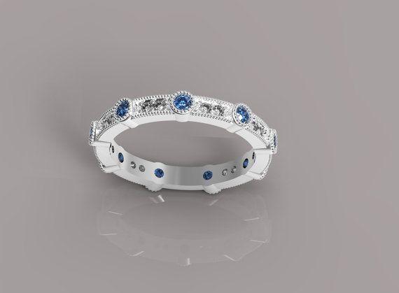Diamond and Blue Sapphire Band Diamond Band Blue by AviantiJewelry