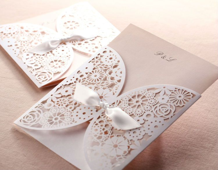 Simple But Elegant White Engraved Floral Ribbon Wedding Invitation EWWS004