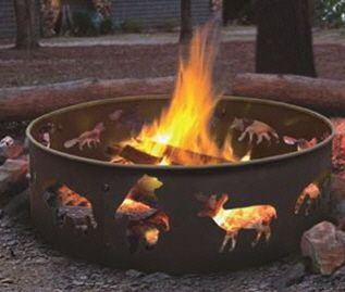 Landmann Big Sky Wildlife Outdoor Steel Fire Ring New Wood Burning Fire Pit Fire Pit Patio Outdoor Fire Pit
