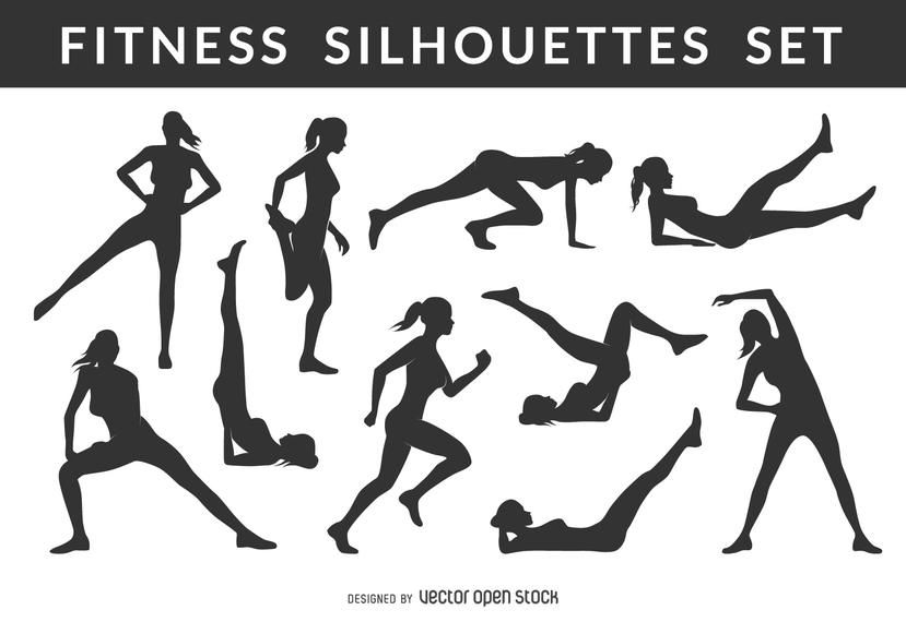 Collection Of Female Fitness And Gym Silhouettes In Different Positions Both Exercising And Stretching Perfect For Gyms Post Silhouette Fitness Logo Fitness