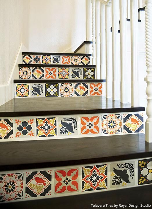 Diy Mexican Talavera Tile Furniture Stencils Royal Design Studio