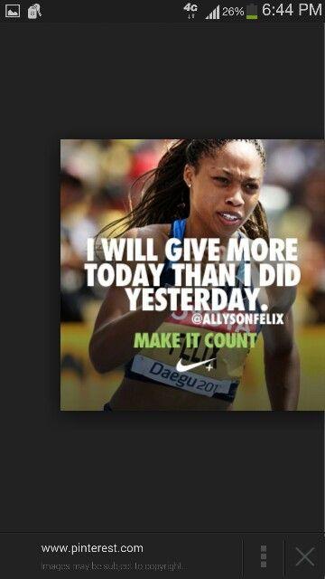 Allison Felix Nike quotes, Nike motivation, Track quotes