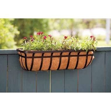 30 Inch Window Deck Planter With Coco Liner In Black Decor Deck