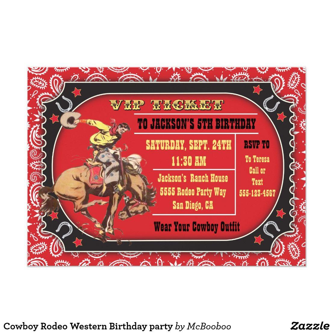 Cowboy Rodeo Western Birthday party   Kids 2-12 Birthday Invitations ...