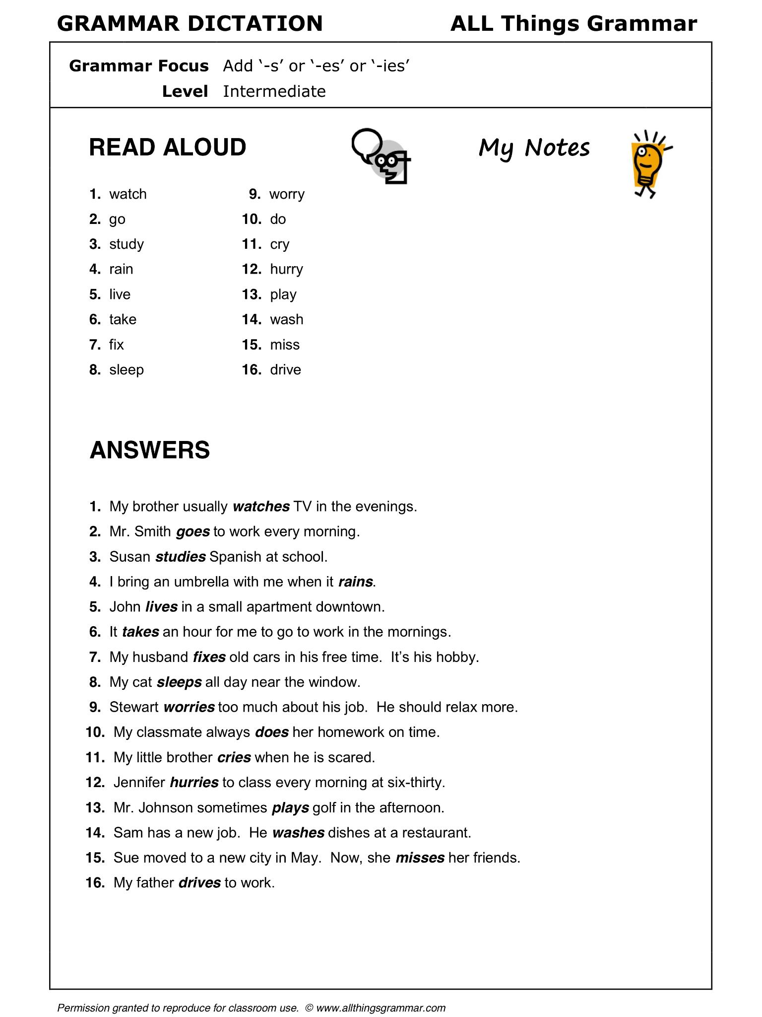 English Grammar Add S Or Es Or Ies Present Simple