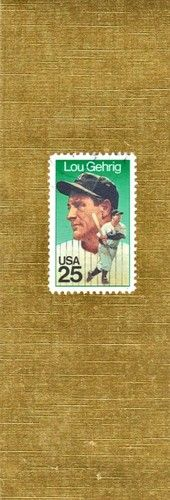 Lou Gehrig Postage Stamp on Gold Decorative paper; laminated bookmark