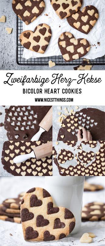 Zweifarbige Herzkekse oder Plätzchen / Bicolor Heart Cookies - Nicest Things
