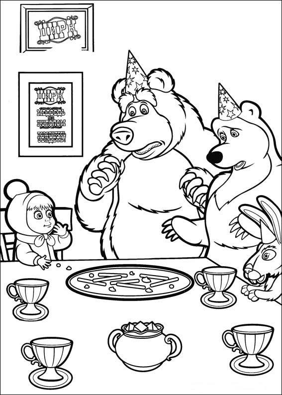 Masha and the Bear Printables 7   Malvorlagen für kinder ...