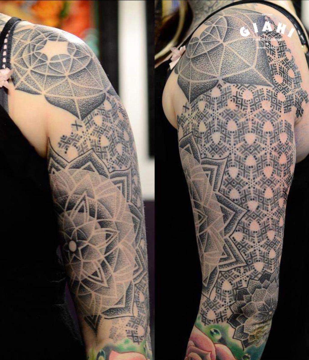 Flowers Dotwork tattoo sleeve by Andy Cryztalz