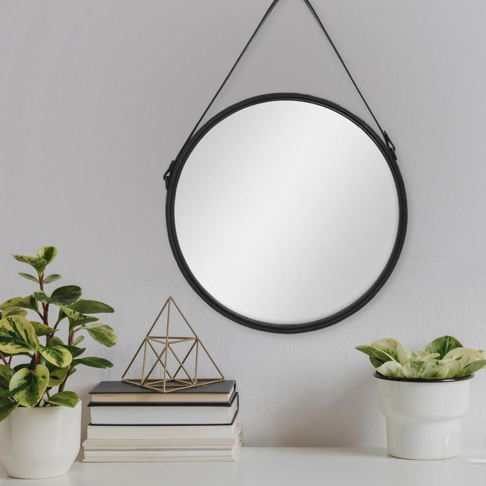 Spiegel Rund Schwarz Mit Lederband 40 Cm Durchmesser Runder Wand