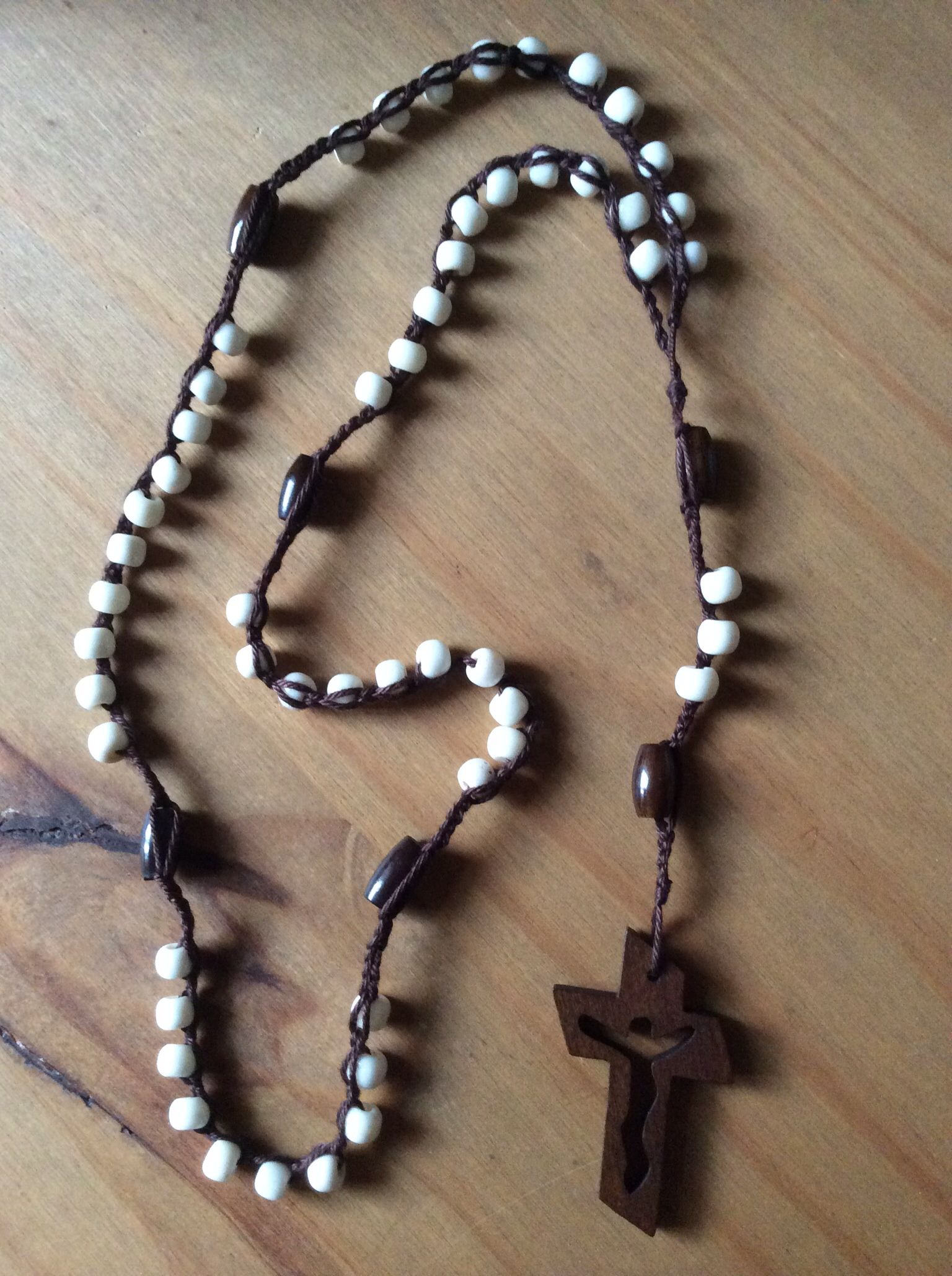 Crocheted Rosary With Bone Beads Rosaries Rosary Gotta Love It