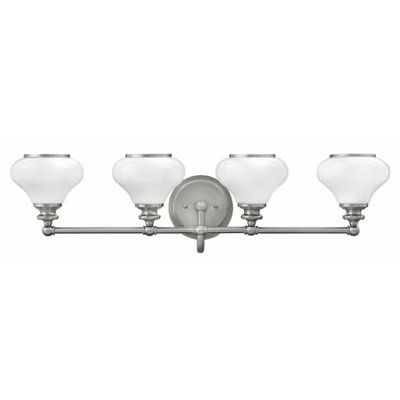 Photo of Ainsley 4-Light Dimmable Vanity Light Finish: Brushed Nickel, Shade Color: Opal