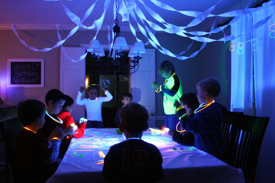 Glow In The Dark Decoration Ideas the glow-in-the-dark party decor in dining room | glow in the dark