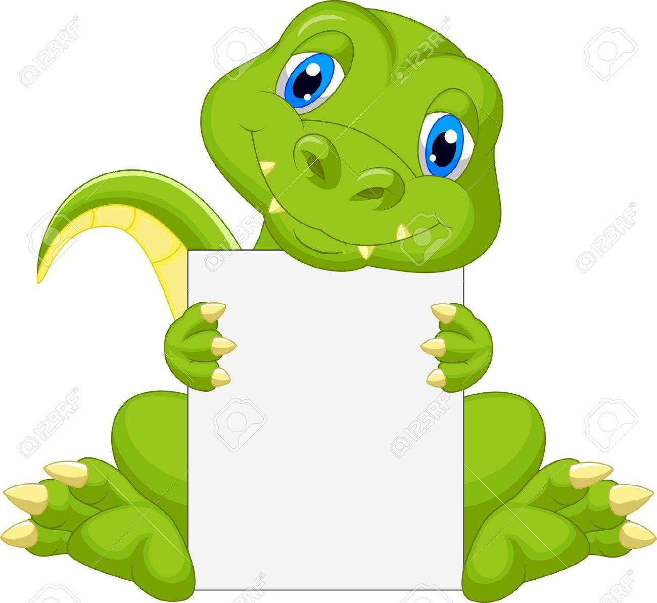 23848488 Cute Dinosaur Cartoon Holding Blank Sign Stock