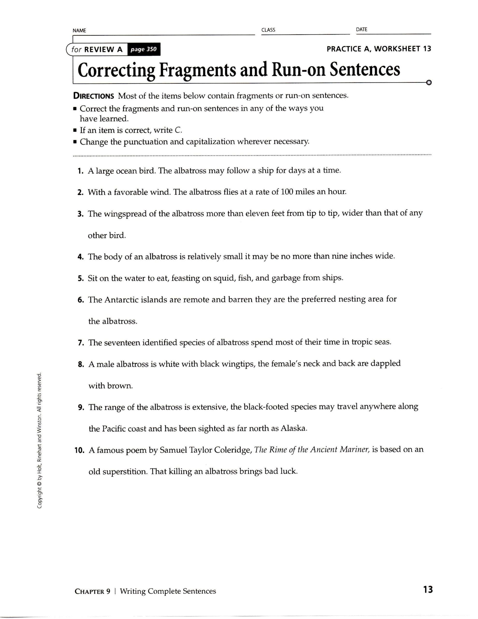 Run On Sentence Worksheet Sentence Fragment Worksheet Run On Sentences Worksheet Template Multi Step Equations Worksheets