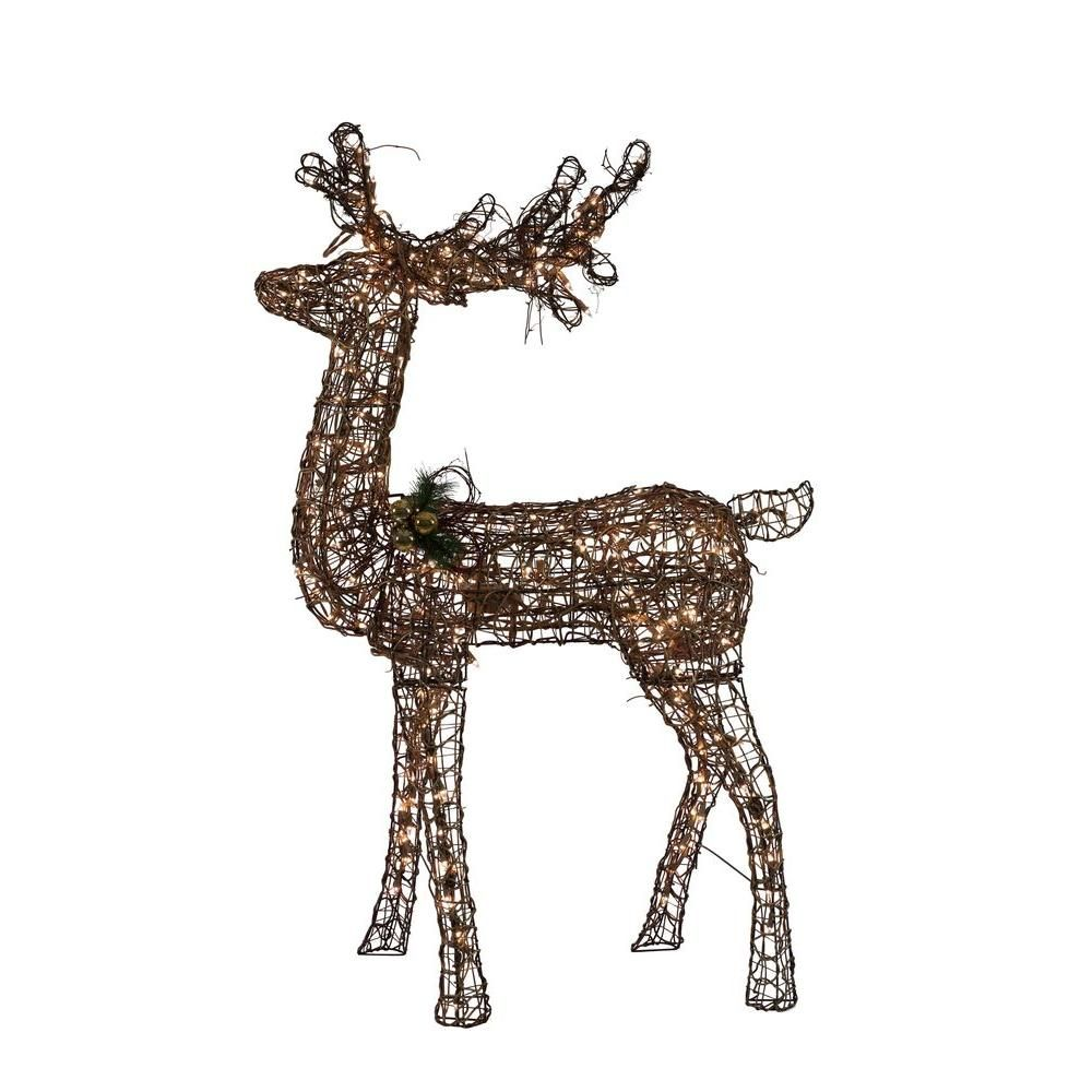 Home Accents Holiday 60 in. Grapevine Standing Deer with Animation ...