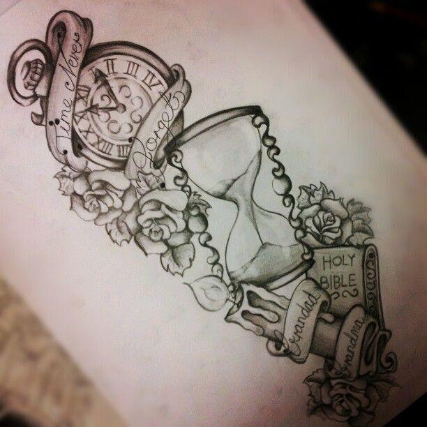 Il tempo vola la sabbia del tempo si ferma nella for Time piece tattoos