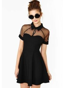 Black Fashion Sexy Lapel Gauze Perspective Hollow Splicing Bodycon Dress