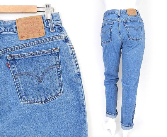 1c65c2e7 Vintage 90s Levi's 550 High Waisted Mom Jeans - Size 12 - Stone Washed  Faded Blue Rinse Women's Tapered Leg Relaxed Fit Jeans - 31