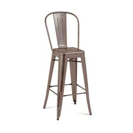 Outstanding Dreux Rustic Matte Steel High Back Barstool 30 Inch Set Of Inzonedesignstudio Interior Chair Design Inzonedesignstudiocom