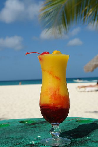 Cocktail on Manchebo Beach, Aruba.. I'm getting that drink! Can't wait!