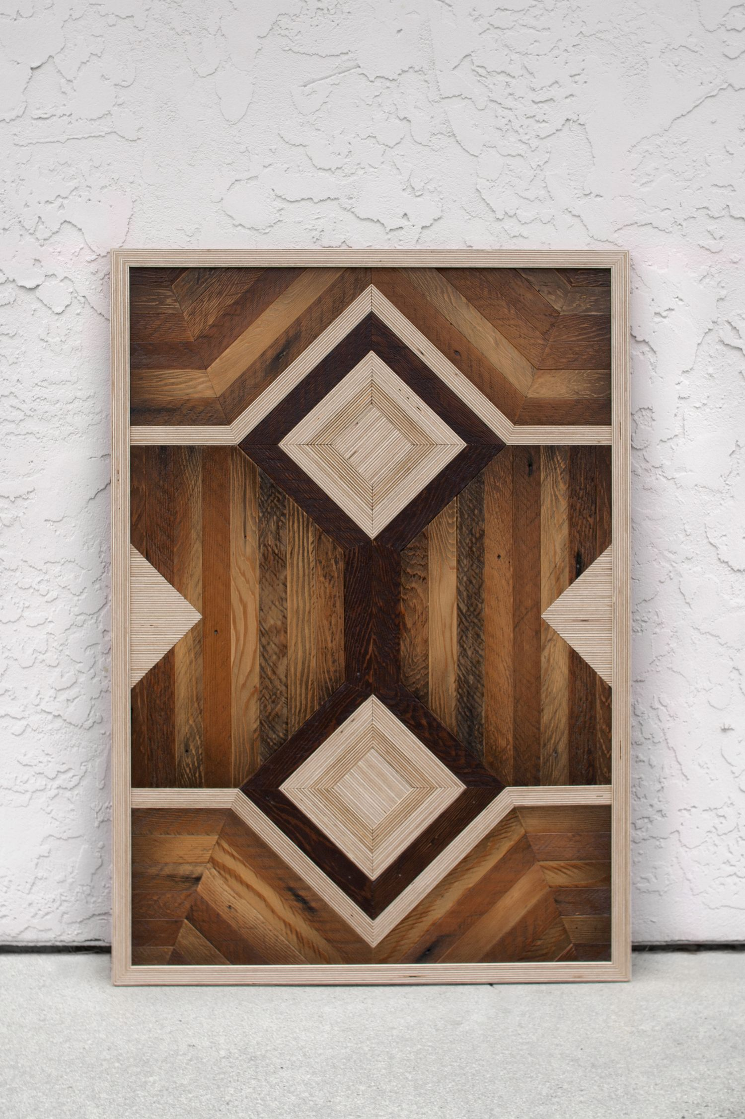 Decorative wall panel made of reclaimed wood (lath) and Baltic birch plywood