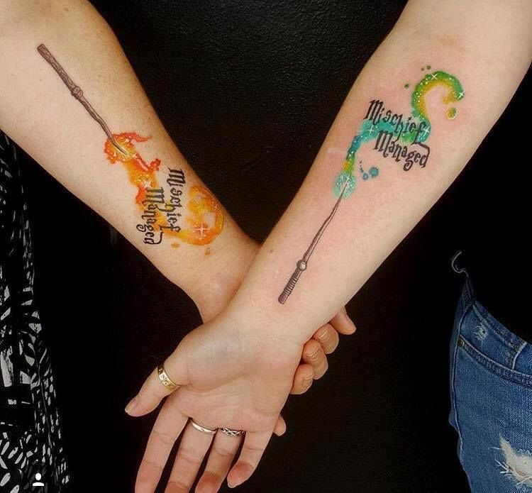 Prisoner Mischief Managed Azkaban Wizard Tattoo Potter Witch Harry Wand And The Of Hogwarts Tattoo Tattoo Ideen Unterarm Frau Freundschaftstattoos