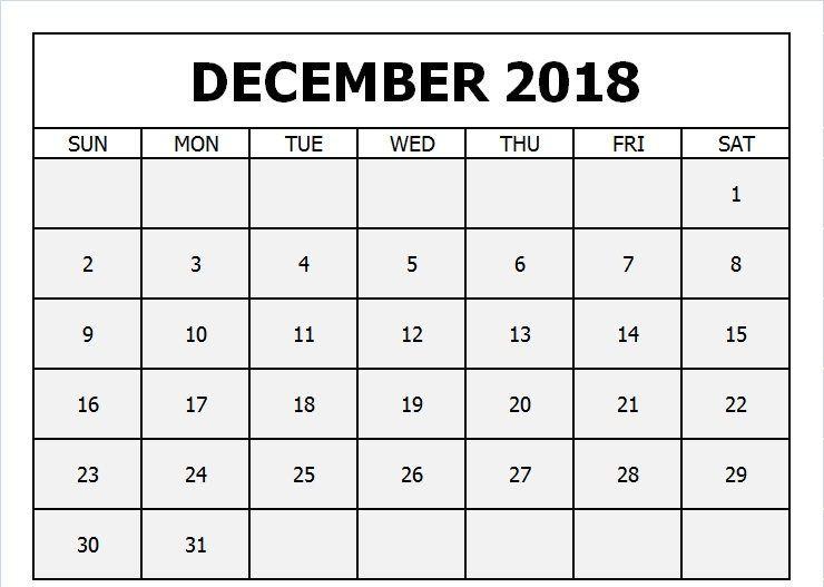 December 2018 Printable Calendar Excel December 2018 Calendar