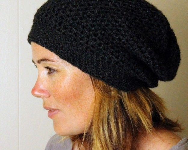 Cappello a uncinetto  schemi e modelli - Cappello nero  9447dac5a6c2