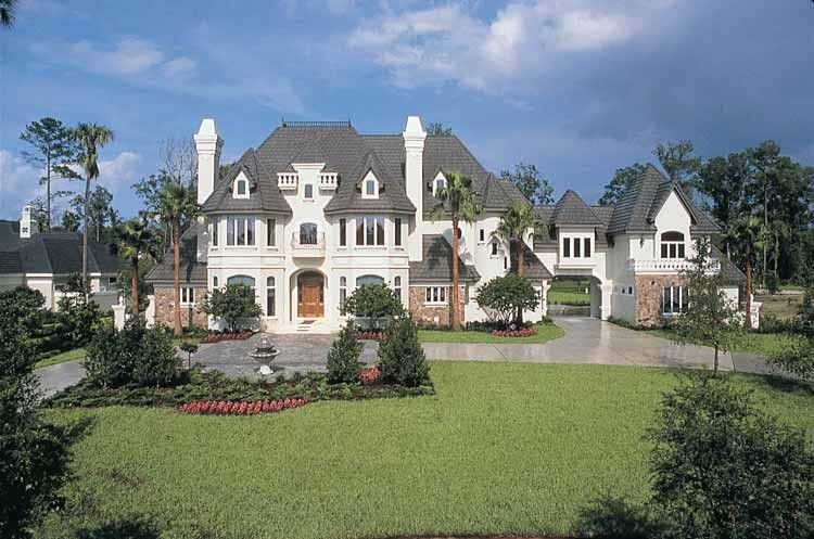 Chateau house plan with 6462 square feet and 4 bedrooms s for French chateau home plans