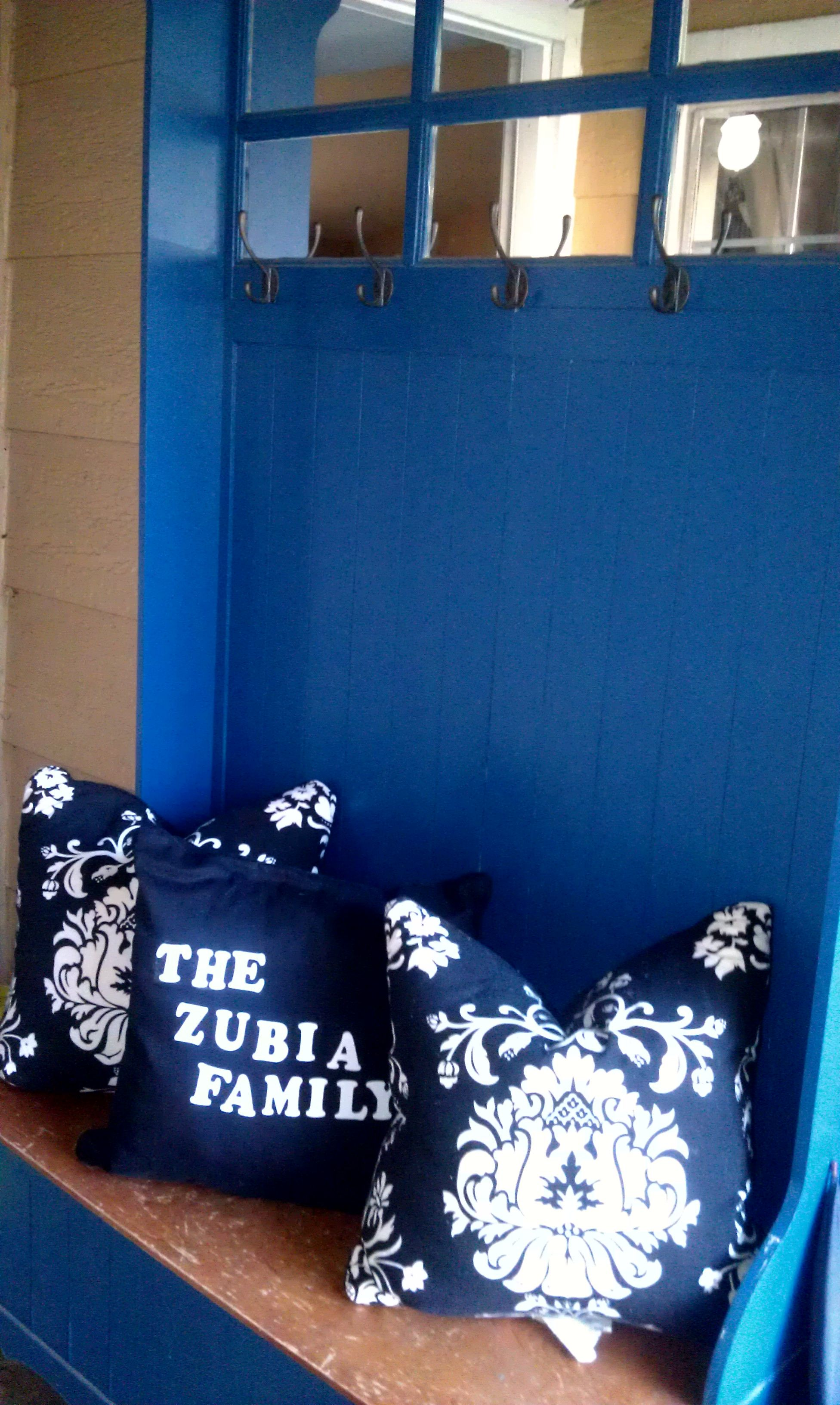 Front porch sitting area. You can customize a pillow with