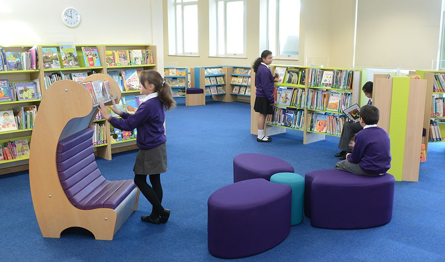 Students in modern school library | Primary library ideas ...