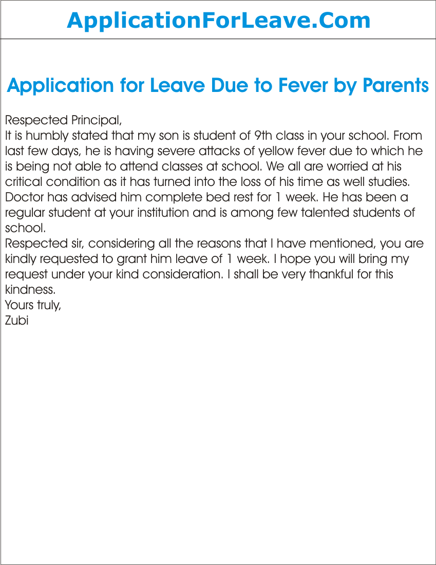 Application Sample For Leave Alluring Application For Sick Leave School Parents Resignation Letter Due .