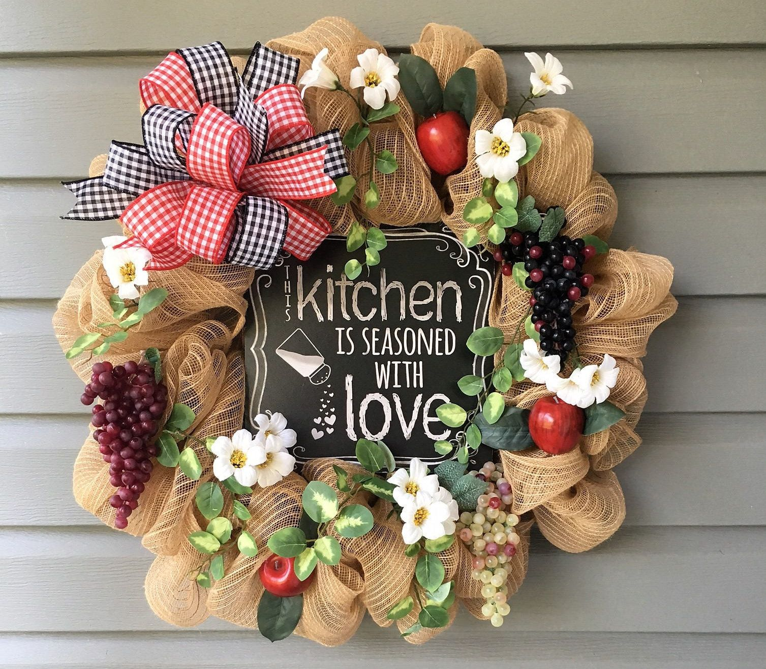kitchen wreath country wreath apple grape wreath kitchen decor