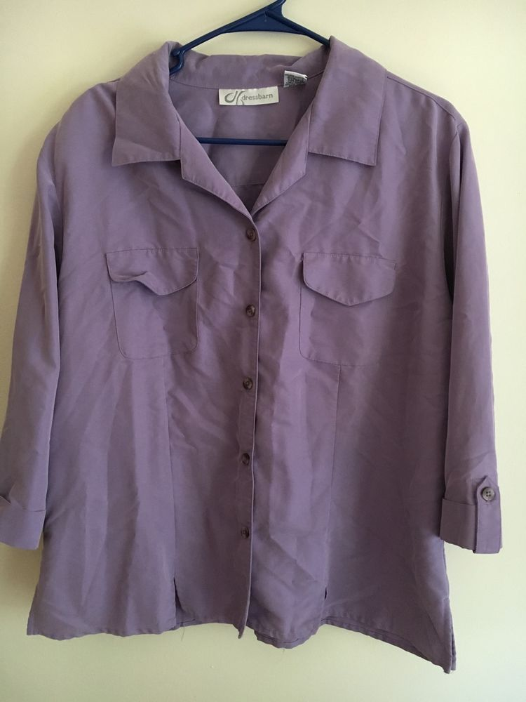 Dressbarn Women S Blouse Size Xl Light Purple Button Down Ebay