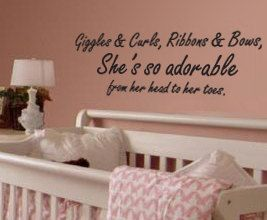 Giggles and Curls Ribbons Bows Shes So Adorable Girl Vinyl Wall Decal Art K80