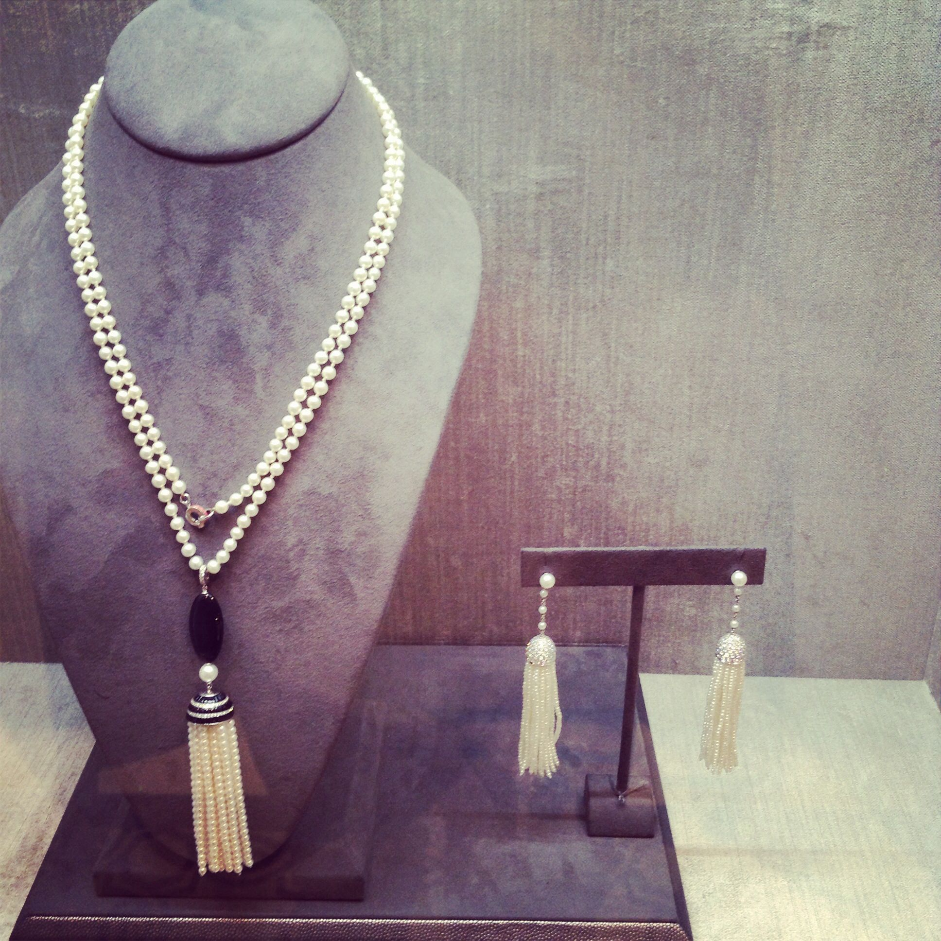 just in our 18k white gold black onyx tassel necklace and diamond tassel earrings