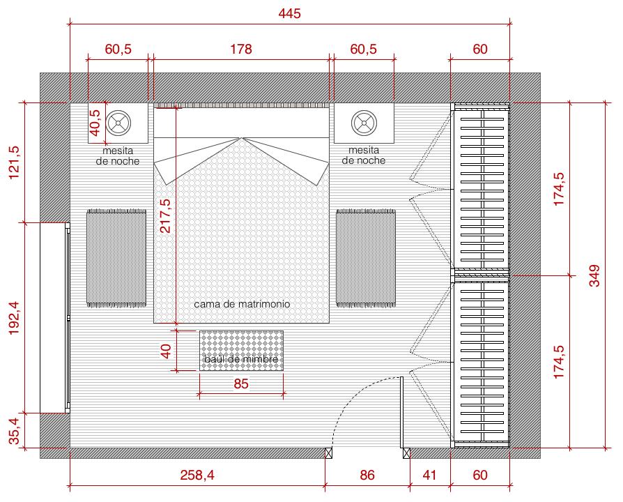 Plano de planta de distribuci n acotado del proyecto de for Planos de casas de una habitacion