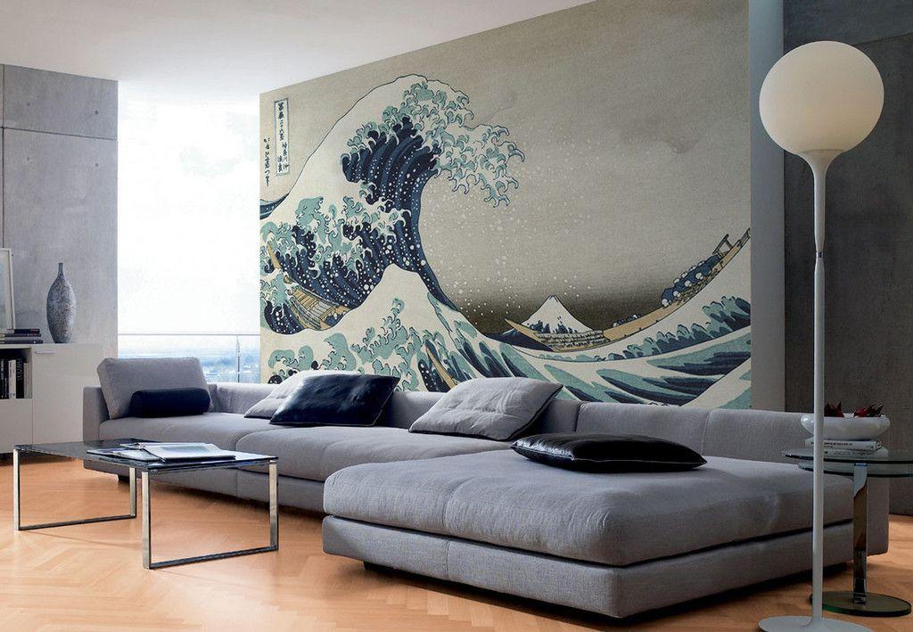 Great Wave off Kanagawa Wall Mural Estilo japonés, Casa estilo y