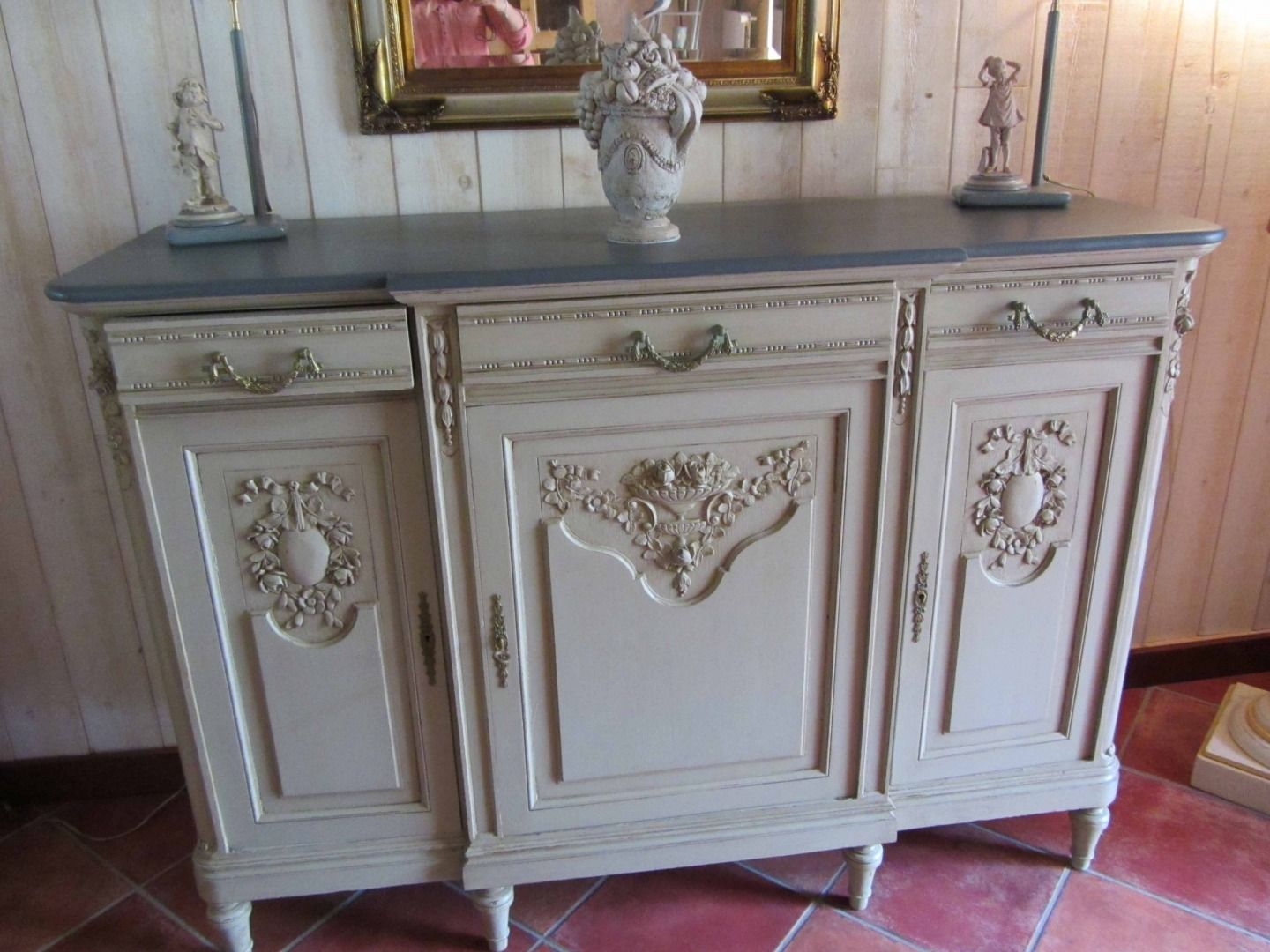 Malle ancienne patin e style marin buffet bas meubles - Meuble patine gris blanc ...