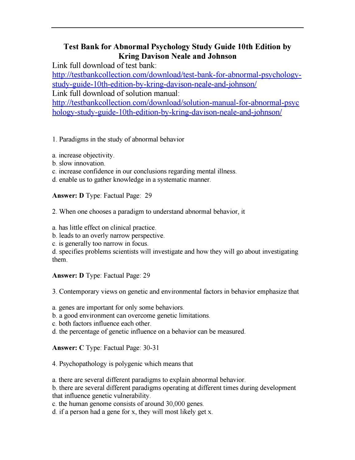 Download test bank for abnormal psychology study guide 10th edition ...