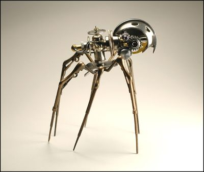When I first encountered Steampunk these things just left me breathless, but at the time I wasn't as familiar with the artists. Now, of course, I can happily put a name to these amazing creations. Christopher Conte's spiders were one of the first bits of Steampunk art I had the pleasure to run across...