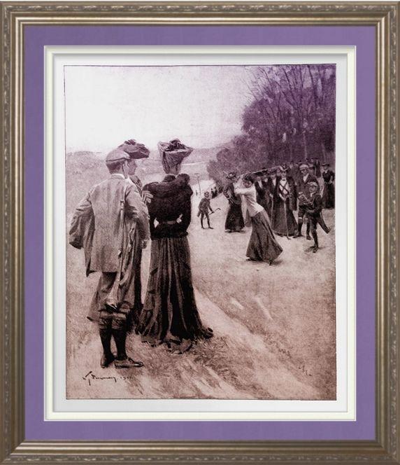 1904 Woman Golfer - Print. Vintage 1904 magazine illustration ' On The Fair Green' reproduced on Archival Heavyweight Paper http://www.zazzle.com/1904_woman_golfer_print-228410961906291536 #golf #print #sport #vintage