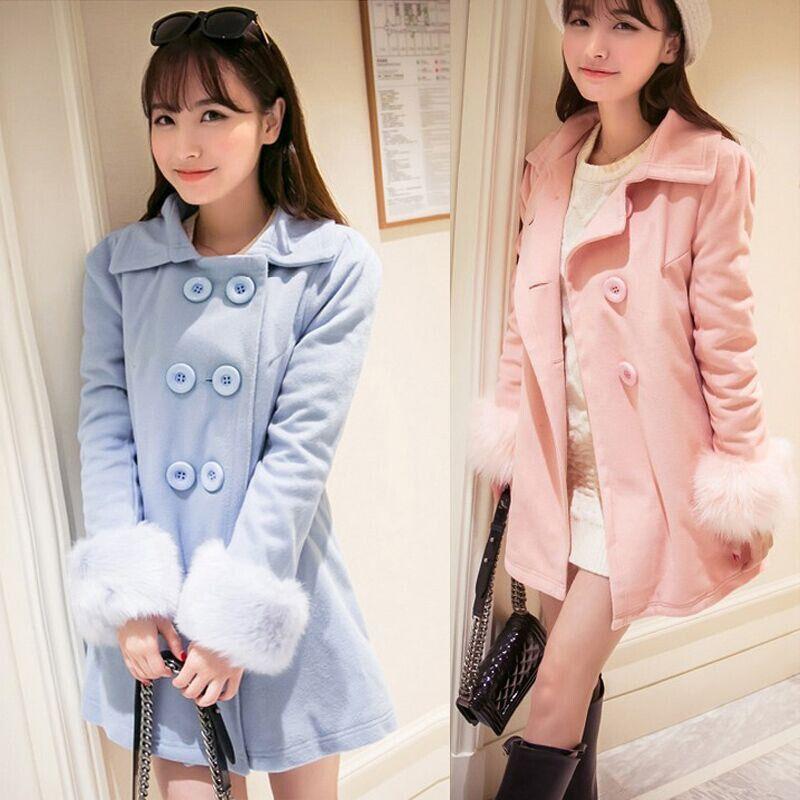 Korean students sweet woolen coat