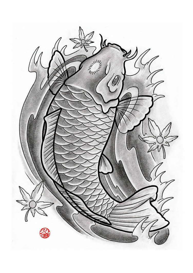 Traditional japanese koi fish tattoo designs japanese for Japanese koi design