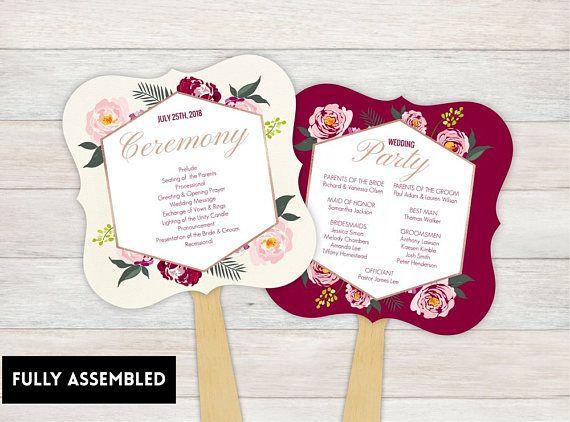 Wedding Fan Program Fans Ceremony Keepsake