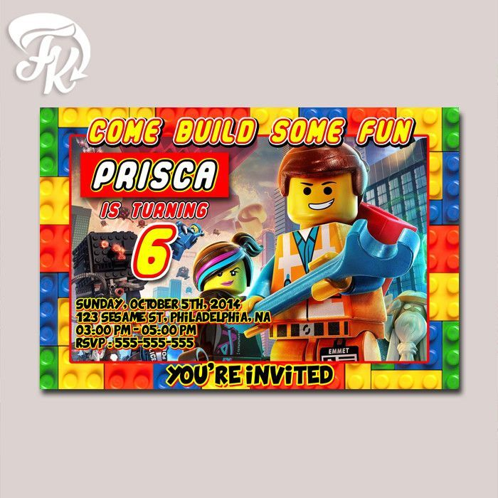 Lego Movie Design Birthday Party Card Digital Invitation Products