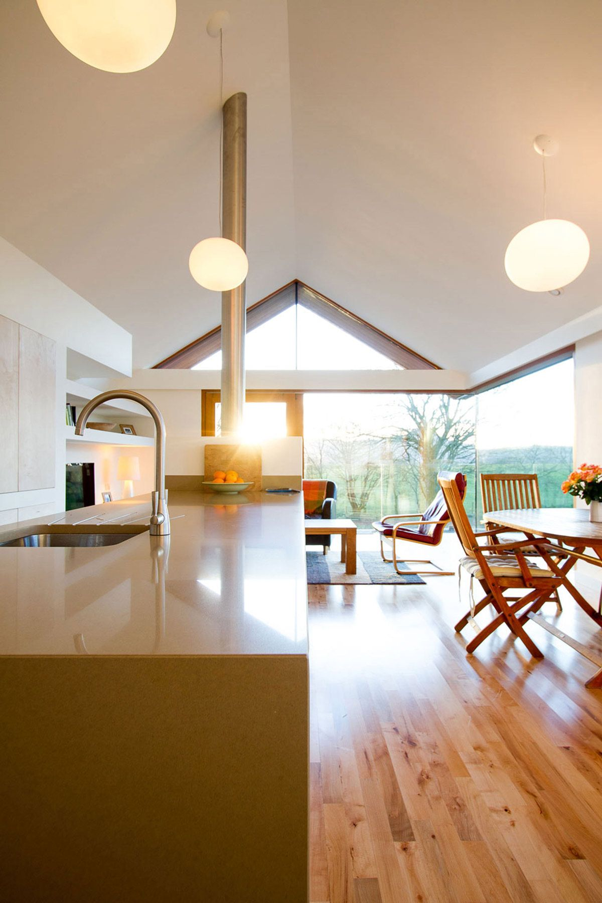kitchen island dining space lighting open plan living barn