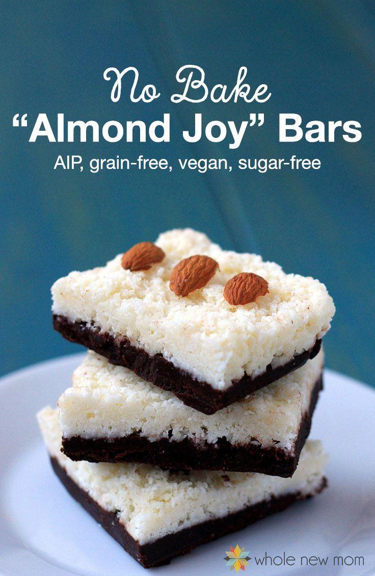 No Bake Healthy Almond Joy Bars Low Carb Vegan Gluten Free Aip
