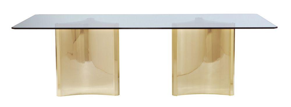 Bernhardt Bernhardt Interiors Abbot Metal Dining Table With Glass